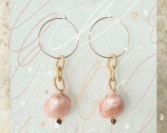 Pink shells with silk chain drop earrings in oversized hoops,rose gold,champangne,silk chain earrings,boho,festival,unique jewelry,sister
