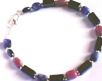 Modern style - sodalite - pink Jasper - Silver 925 bracelet