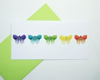 Set of five cards of five butterflies on white paper