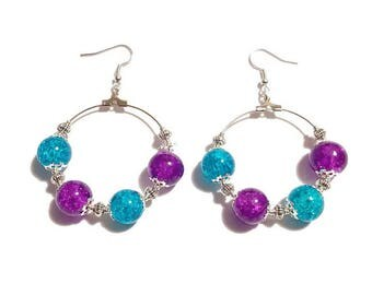 Earrings turquoise, purple and silver beads