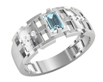 Woman Ring with Octagon Cut Gem Sterling Silver 925 SKU km1027