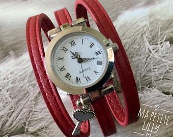 Bracelet Watch. SIZE S silver bracelet round dark red color wrist watch original red