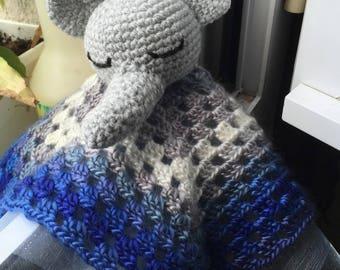 Blue elephant granny blanket