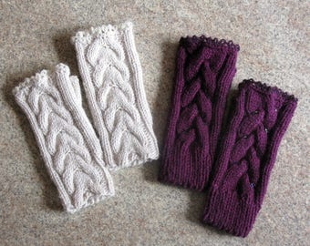 Fingerless Gloves Hand Knitted Women's Half Finger Gloves Arm Warmers Knit Gloves Burgundy Color Ladies Mittens Gloves Wrist Warmers Gift