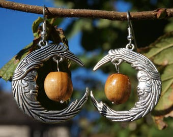 Silver earrings with natural hazelnuts on Moon