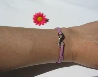 Infinity bracelet suede purple
