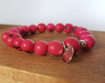 Bracelet elastic pink acai seed and 925 for men and women