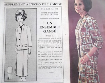 pattern sewing vintage jacket and SKIRT set for woman year 1962 # 12