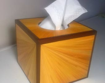 Color square tissue box gold