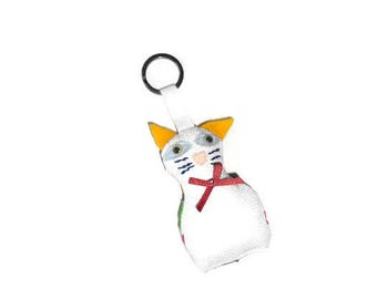 Fabric cat key chain