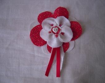 Brooch, flower cotton linen fabrics