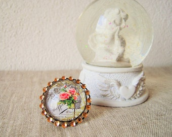 Ring adjustable vintage rose and rhinestones