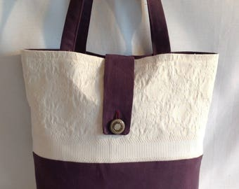 Two-tone upholstery fabric and cotton straps tote bag