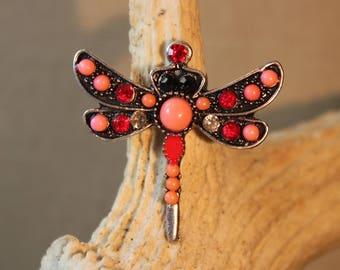 "Ring adjustable Dragonfly""red"", retro, fantasy,"
