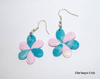 pale turquoise pink pastel Flower Earrings