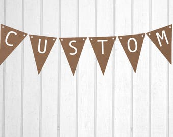 Kraft Brown & White Custom Rustic Vintage Personalised Flag Bunting - Birthday Wedding Engagement Baby Shower Farewell Party Banner Sign