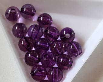 x 10 pearls 8 mm - purple - acrylic