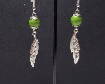 Green leaf and howlite earrings