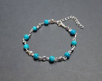 Hearts bracelet and marbled turquoise beads