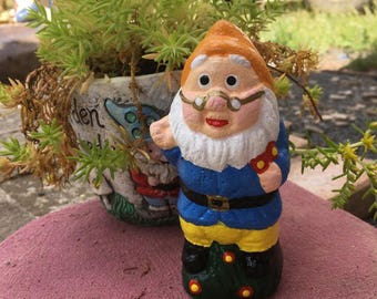Little Gnome with Glasses & Flowers