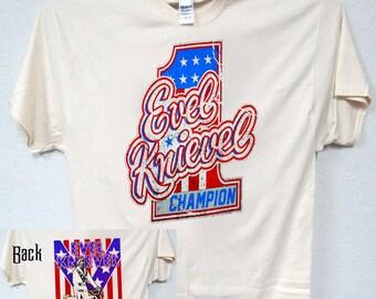 """EVEL KNIEVEL""""1970's Classic Art"""",Bike on Back T-Shirts,S,M,L,XL,2X,3X,4X, 375"""