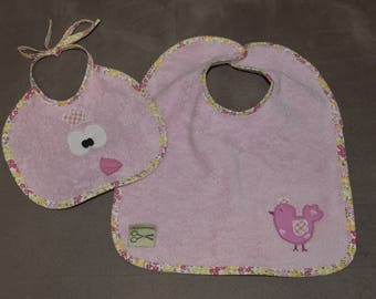 Set of two bibs baby pink light little hen