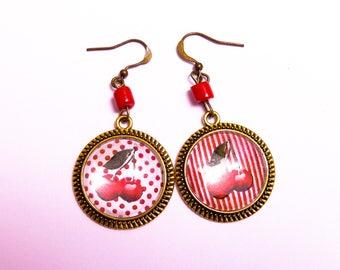 Cherry pattern cabochon earrings