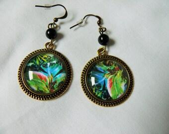 Tropical pattern cabochon earrings