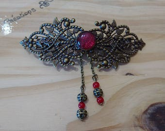Bronze Barrette, red cabochon, chains and beads