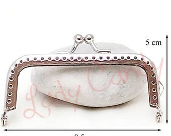 Clasp coin purse bag 8.5 H x 5 cm silver #330020