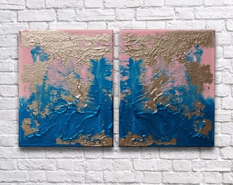 "RoR #10 Pink Aqua Gold Rorschach Acrylic Wall Art Twin Canvas Set (8"" x 10"" each   total 16"" x 10"")"
