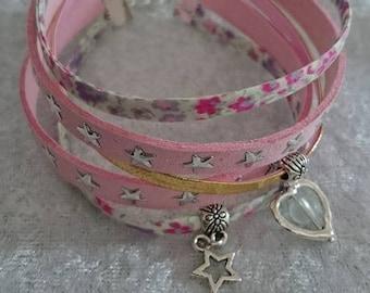 Pink bracelet cuff Phoebe tones 18 cm