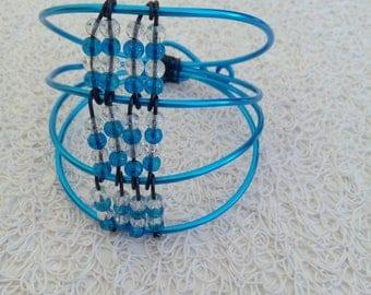 Blue aluminum bracelet