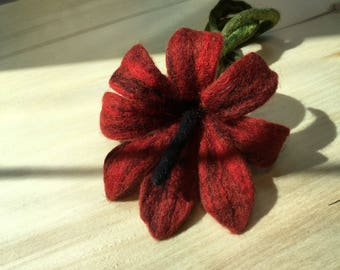 Felted Wool Brooch Hand Made Red Jewerly Unique