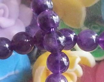 20 Amethyst beads in 6 mm in diameter, hole 1 mm