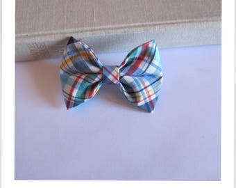 """hair bow """"clip - me"""" blue, red, yellow, green stripe."""