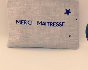 Cosmetic mi mi linen cotton personalized pouch bag