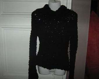 "Black sweater ""tassels"" t. 34/36 knitted hand"