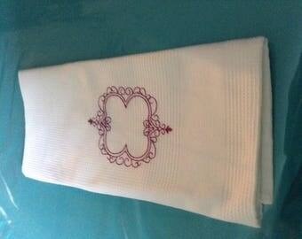 Nest d bee Tea towel embroidered white cotton