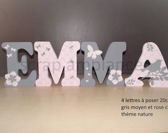 Letter wood name to ask, ask, wood letter name custom NATURE 20 cm