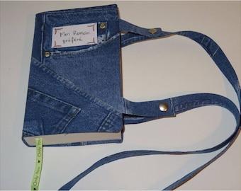 "Trompe l'oeil ""patchwork denim"" cotton book bag"
