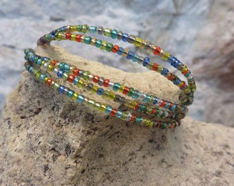Bracelet MULTISTRAND steel wire and multicolored