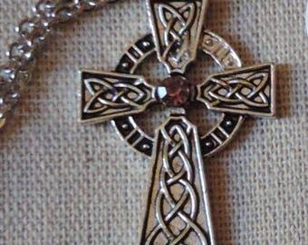 Silver Celtic Cross on a steel chain