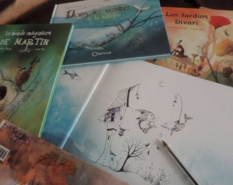 Set of 4 books illustrated youth - your choice = a small gift and more