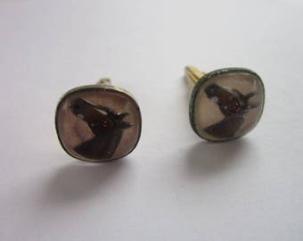 Antique Hickok Glass Paperweight Cuff Links Horse Head Motif