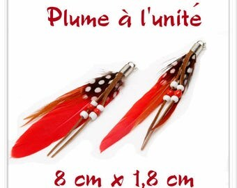 Red Black Brown l ' single white feather pendant