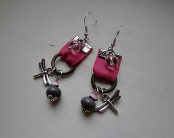 Earrings grey and Pink Ribbon