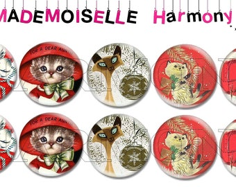 10 glass cabochons 18 mm cats Christmas size 18 mm cabochons