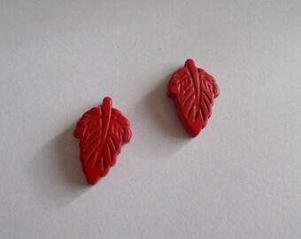 leaf shaped 1 set of 2 narturelles howlite beads