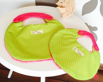 SET of two BIBS has DOUBLE opening fuchsia pink and lime green